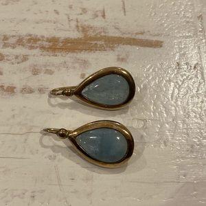 Gold & Blue Topaz Drop Earrings